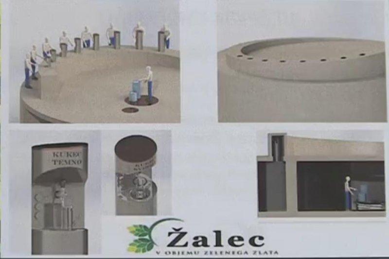 Concept art for the proposed beer fountain in Zalec, Slovenia. Screenshot: SAVINJSKA TELEVISION/Facebook video