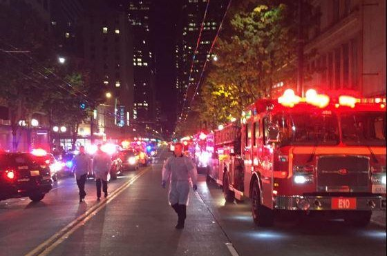 Five people were shot in downtown Seattle after an apparent argument took place. The victims were taken to a local hospital, while a manhunt continues for the suspected shooter who is believed to be an adult male. Photo courtesy of Seattle Fire Department