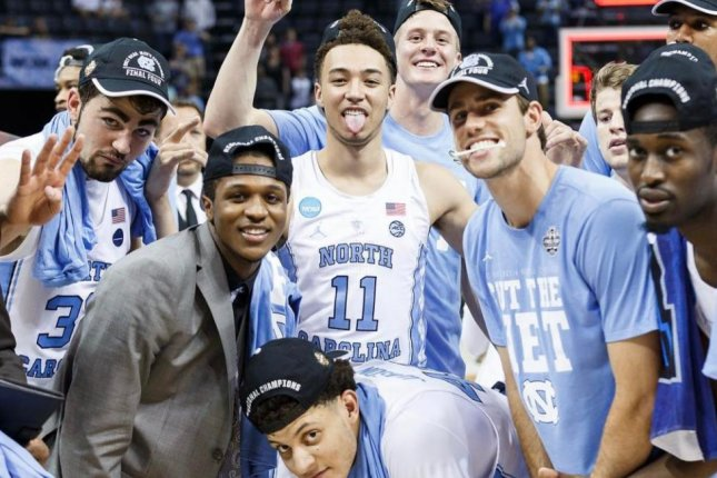 North Carolina players celebrate its Elite 8 win against Kentucky Sunday, March 26 at FedEx Forum. (UNC_Basketball/Instagram)