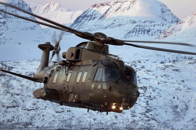 The HH-101A Caesar for the Italian Air Force is based on AgustaWestland's AW101 helicopter, pictured. AgustaWestland photo