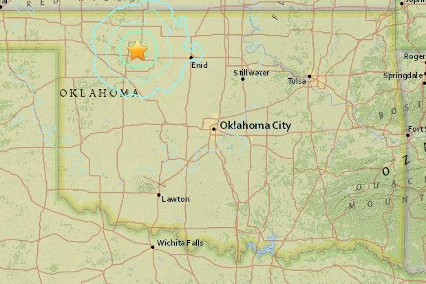 A string of small earthquakes rock Oklahoma, one of the larger oil producers in the United States and a state wary of the connection between shale activity and tremors. Map courtesy of the U.S. Geological Survey.