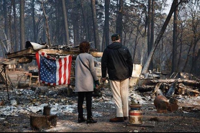 President Donald Trump and Paradise Mauor Jody Jones survey damage Saturday caused by the Camp Fire in Northern California. Photo courtesy realdonaldtrump/Instagram