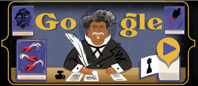 Google is paying homage to French author Alexandre Dumas with a new Doodle. Image courtesy of Google