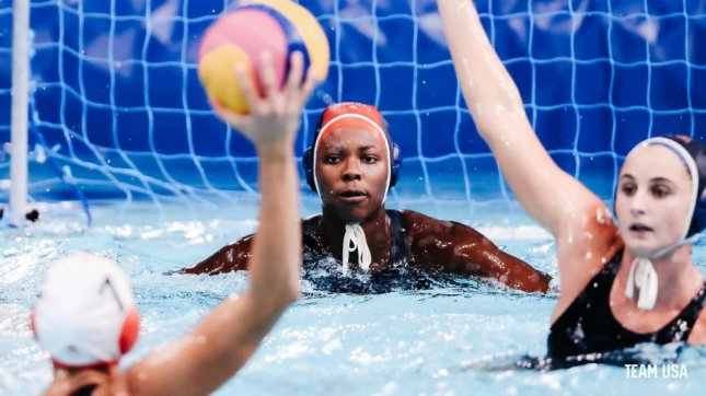Ashleigh Johnson was in net for three quarters of Team USA's quarterfinals win over Canada on Tuesday. Photo courtesy of Team USA/Twitter