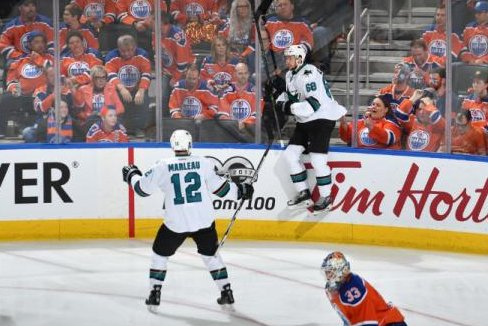 Melker Karlsson celebrates his OT goal to cap the Sharks' victory in Game 1 against the Edmonton Oilers. (San Jose Sharks/Twitter)