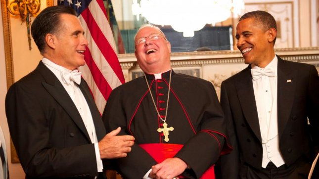October 18, 2012 At the Sixty-Seventh Annual Alfred E. Smith Memorial Foundation Dinner at the Waldorf Astoria Hotel, New York. L-R Mitt Romney, Timothy Cardinal Dolan, Archbishop of New York and President Barack Obama. PHOTO CREDIT/Ryan Brenizer/Archdiocese of New York.