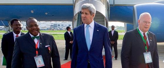 U.S. Secretary of state John Kerry arrives in Nigeria for the inauguration of President Muhammadu Buhari on Friday May 29, 2015. Photo courtesy of U.S. State Department.