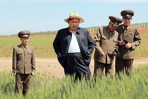 Yonhap identified the suit Kim Jong Un wore as a people's style of uniform widely worn in North Korea. Kim left the top half of his suit unbuttoned, prominently displaying his plump silhouette and bulging stomach. Photo by KCNA/Yonhap