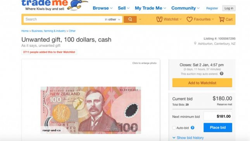 New Zealand Auction Site Removes Top Bid On 100 Bill Upi Com
