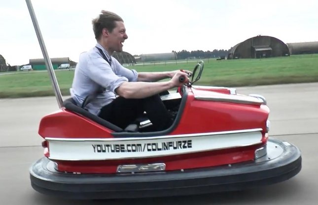 British inventor and YouTuber Colin Furze set a Guinness World Record by modifying a bumper car with a 600cc 100bhp engine, which allowed it to travel at speeds more than 100 miles per hour.  Screen capture/colinfurze/YouTube