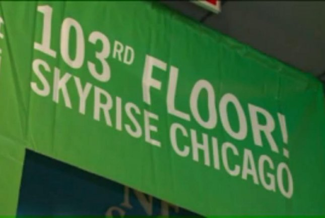 The finish line of the 8th annual Skyrise Chicago stair climb at the top of the Willis Tower. Screenshot: WGN-TV