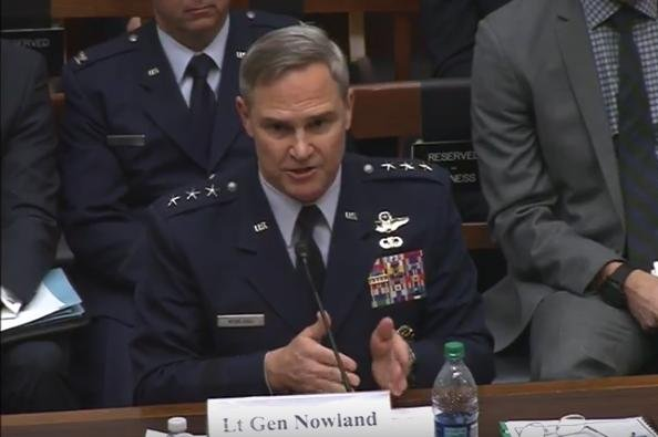 Lt. Gen. Mark Nowland, the deputy chief of staff of operations for the Air Force, testifies before the House Armed Forces subcommittee on tactical air and land forces. Photo by U.S. House Armed Services Committee/YouTube/Screenshot