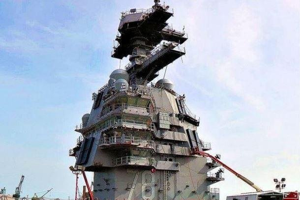 A radar array sits atop the USS Gerald R. Ford, the U.S. Navy's newest aircraft carrier. The Defense Department announced a $97.3 million contract on Friday with Raytheon Integrated Defense Systems for work on the AN/SPS-6 radar system. Photo courtesy of U.S. Navy/UPI