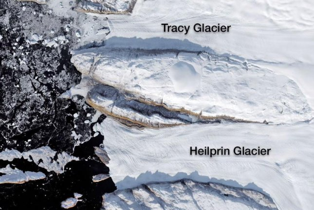 Because Tracy sits deeper in the ocean, it is more exposed to warm water, explaining its accelerated melt rate. Photo by NASA/JPL