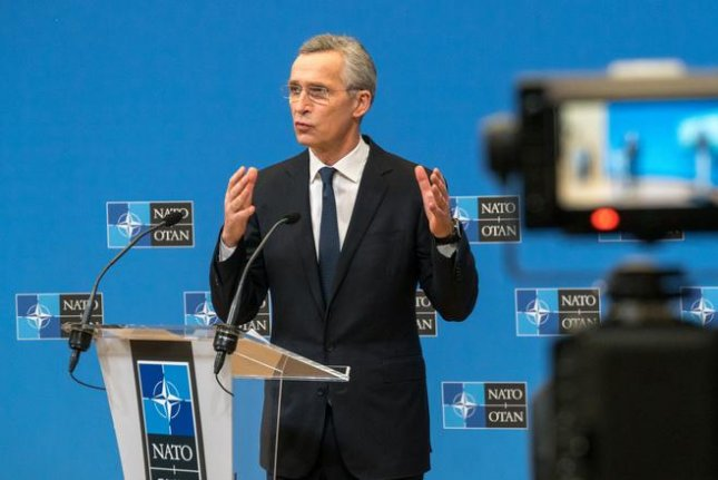 NATO Secretary General holds a press conference as the alliance's two-day teleconference with member nations' defense secretaries wraps on Thursday. Photo courtesy of NATO