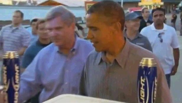 Obama at the Bud Tent at the Iowa State Fair.