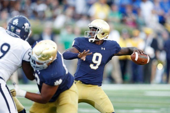 Much of Malik Zaire's buzz comes from a big performance against LSU in the 2014 Music City Bowl, but an injury cut short his 2015 season after two games and he mostly backed up DeShone Kizer last season at Notre Dame. Photo courtesy of Notre Dame Football/Twitter