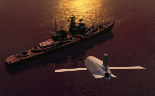 The Long Range Anti-Ship Missile closes in on a target. Photo courtesy of Lockheed Martin