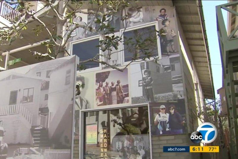 Artist Gary Sweeney turned his family's Manhattan Beach home into an art exhibit ahead of its scheduled demolition. Screenshot: KABC-TV