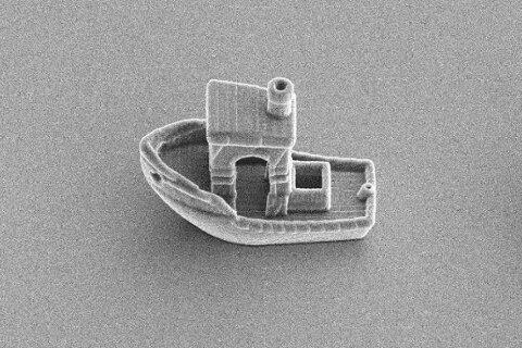 Researchers atLeiden University in the Netherlands used an electron microscope and a high-definition 3D printer to create a boat that measures only 30 micrometers long. Photo courtesy of Leiden University