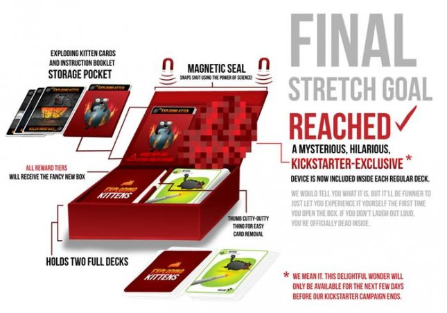The 'Exploding Kittens' card game raised $8.87 million on the crowdfunding platform Kickstarter, a record as the most back and most funded game project since the site began in 2009. Image: Exploding Kittens
