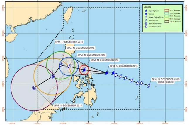 More than 700,000 people have been evacuated in the Philippines as Typhoon Melor reached strong sustained winds up to 130 miles per hour on Monday. About 40 domestic flights have been canceled and many schools have been closed. Image courtesy of the Philippine Atmospheric, Geophysical and Astronomical Services Administration