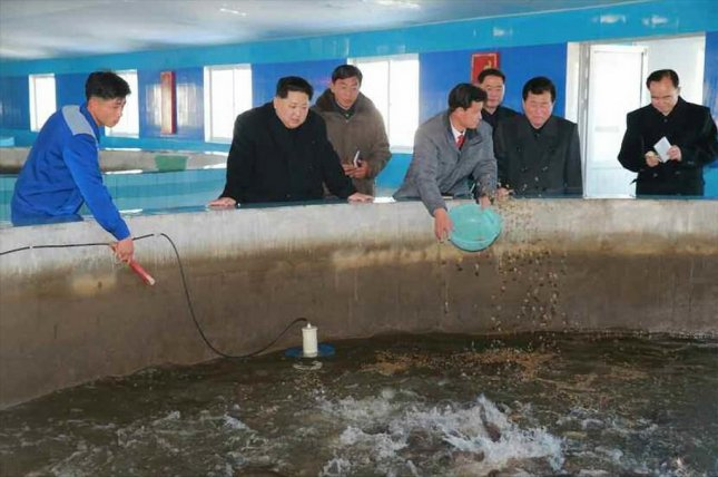 North Korean leader Kim Jong Un visited a newly built catfish farm, North Korea's state television announced Tuesday. Photo by Yonhap