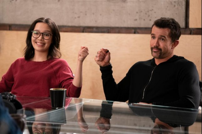 Poppy (Charlotte Nicdao, left) and Ian (Rob McElhenney) are getting along at the beginning of Mythic Quest Season 2. Photo courtesy of Apple