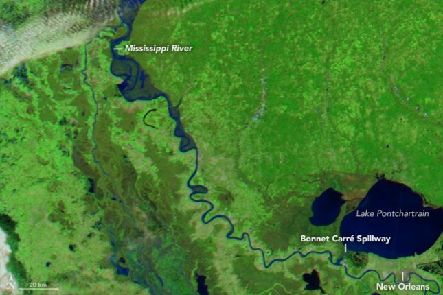 NASA's Aqua satellite photographed rare winter flooding on the Lower Mississippi in Louisiana. Photo by NASA/EO