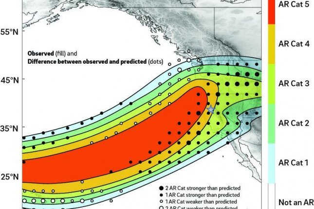 Smaller, weaker atmospheric rivers are mostly beneficial, bringing restorative rains, but larger, slower-moving rivers can cause damaging floods. Photo by CW3E/Scripps Institution of Oceanography at UC San Diego