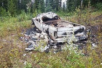 The Royal Canadian Mounted Police released a photo of a burned-out truck registered to Kam McLeod in Manitoba. Photo courtesy RCMP