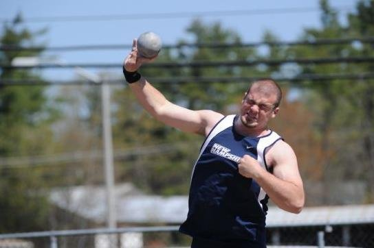 Cameron Lyle throws shot put for University of New Hampshire. (Credit UNH.edu)