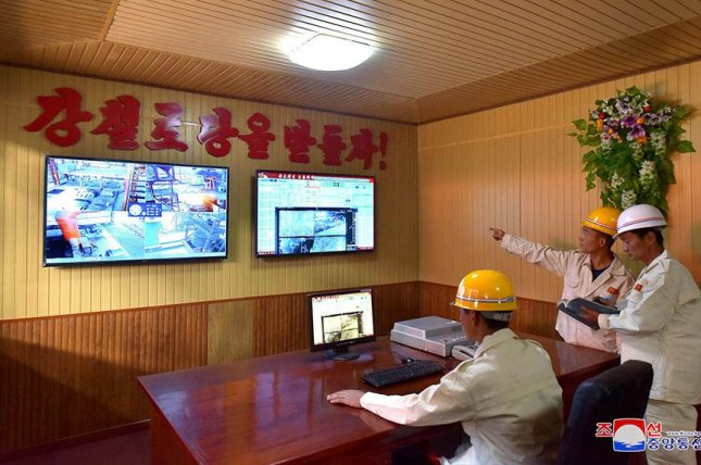 North Korea has completed new facilities at Hwanghae Iron and Steel Complex, according to state media. Photo by KCNA