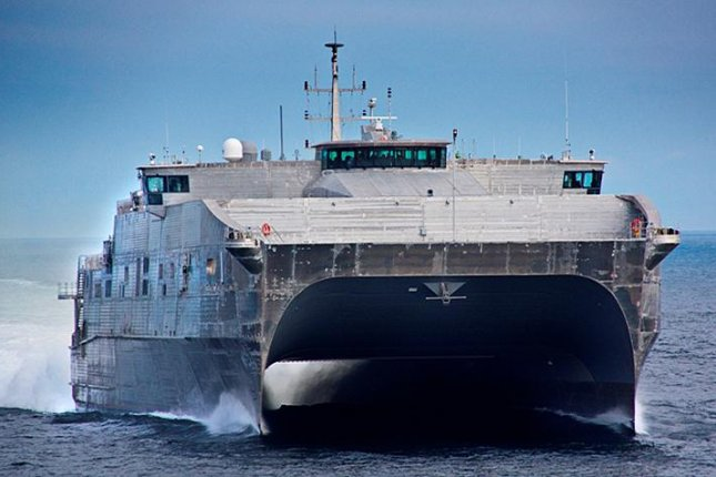 The expeditionary fast transport ship USNS Puerto Rico will be commissioned Saturday in Alabama. Pictured is the USNS Spearhead, the first of the Navy's EPF vessels. Photo courtesy of the Military Sealift Command
