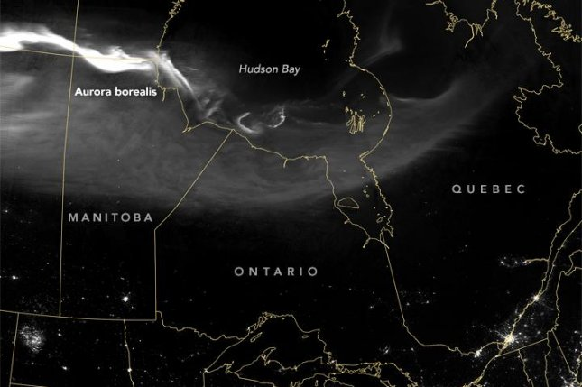 NASA's Suomi NPP satellite spotted an aurora snaking across northern Canada. Photo by NASA/Earth Observatory/Suomi NPP/VIIRS