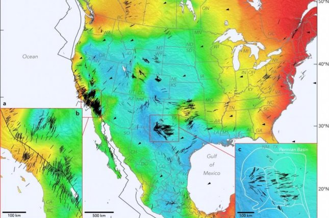 A new map of North America shows the different types and directions of stress that influence the continent's crust. Photo by Jens-Erik/Lund Snee/Mark Zoback