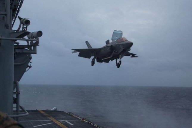 A U.S. Marine Corps F-35B fighter plane prepares to land aboard the USS Wasp in the Solomon Sea on August 4, 2019. Photo by LCpl. Dylan Hess/U.S. Navy