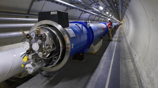 A section of the 16-mile-long Large Hadron Collider. Credit: CERN