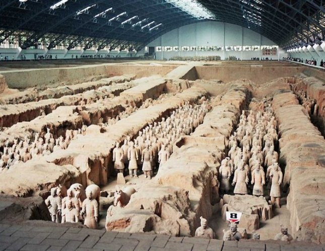 The famous terracotta army in China.