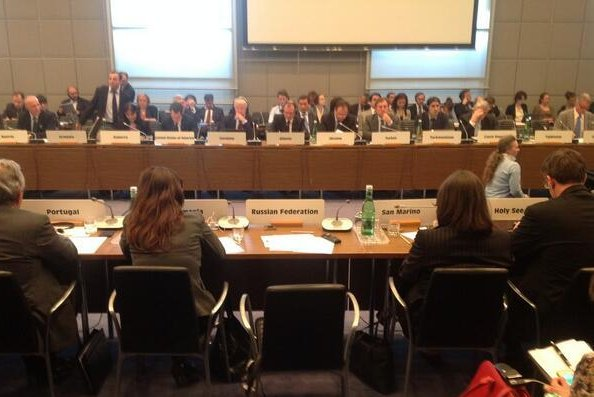 A photo taken by U.S. Ambassador to the OSCE Daniel Baer of Russian Permanent Representative to the OSCE Andrei Kelin's empty seat at the OSCE Permanent Council meeting in Vienna, Austria on April 30, 2014. (Twitter/U.S. Ambassador Daniel Baer)