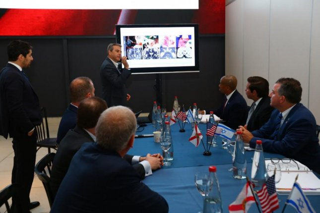 Florida Gov. Ron DeSantis attends a meeting in Jerusalem, Israel, Wednesday with officials from Israeli technology firms. Photo courtesy Gov. Ron DeSantis/Twitter