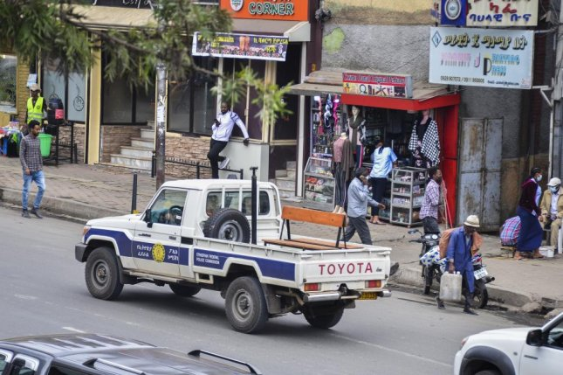 Ethiopian Federal Police patrol in Addis Ababa, Ethiopia Saturday. STR/EPA-EFE