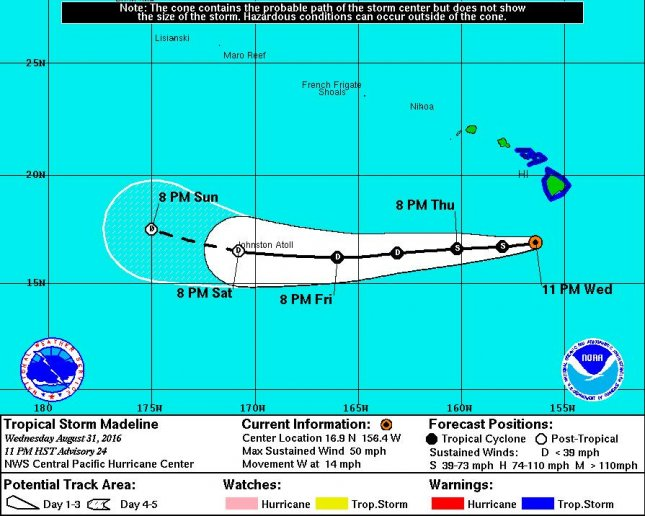Tropical Storm Madeline did not hit the Hawaiian islands directly. Some flooding was reported after the storm system passed near the Big Island and up to 1,000 people lost electricity on Wednesday. Image courtesy of Central Pacific Hurricane Center