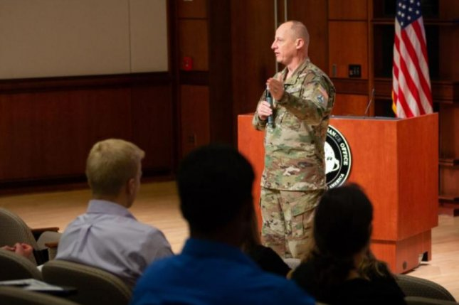 Maj. Gen. Michael Guetlein, shown addressing a National Reconnaissance Office intern class in June 2021, was nominated to lead the Space Systems Command of the U.S. Space Force. Photo courtesy of U.S. National Reconnaissance Office