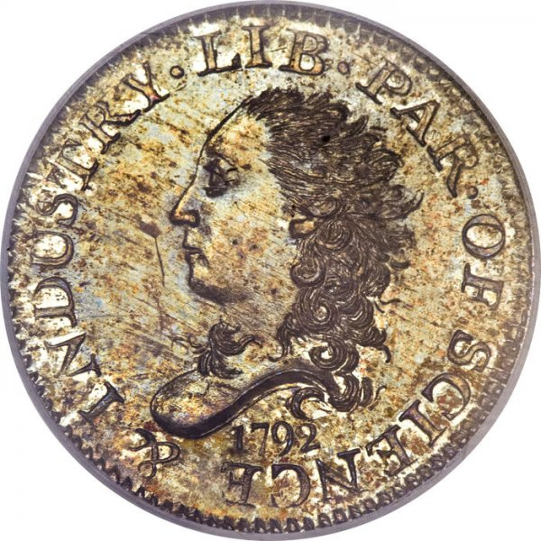 One of the first U.S. coins ever minted, a 1792 nickel, sold for $1.41 million at an auction in Orlando, Fla., Heritage Auctions said. (courtesy Heritage Auctions)