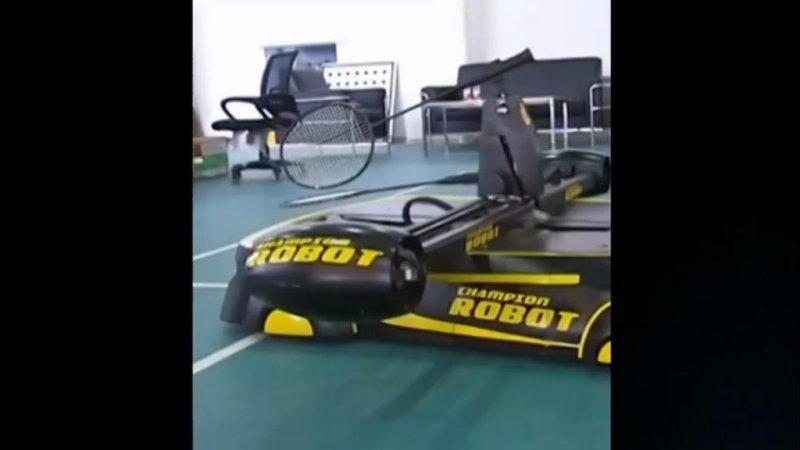 A robot that plays badminton. Seriously. Screenshot: Newsflare