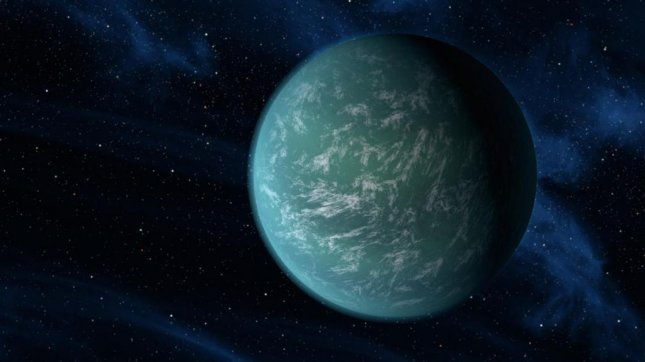 This artist's conception illustrates Kepler-22b, a planet known to comfortably circle in the habitable zone of a sun-like star. Astronomers calculate the size of potential Earth-like planets by measuring light fluctuations when they pass in front of their stars. (NASA/Ames/JPL-Caltech)