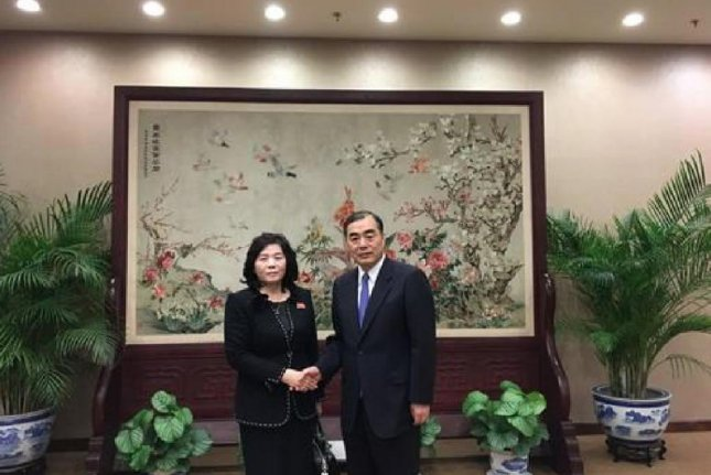 Chinese Vice Foreign Minister Kong Xuanyou (R) met with Choe Son Hui in Beijing on Friday. Photo courtesy of Ministry of Foreign Affairs of the People's Republic of China