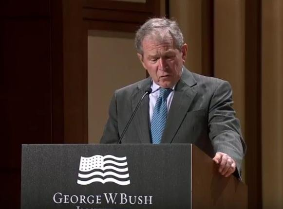 Former President George W. Bush spoke Tuesday on North Korea policy at a forum at the Bush Institute in Dallas. He had some advice for the incoming Trump administration. Screenshot courtesy of the Bush Presidential Center