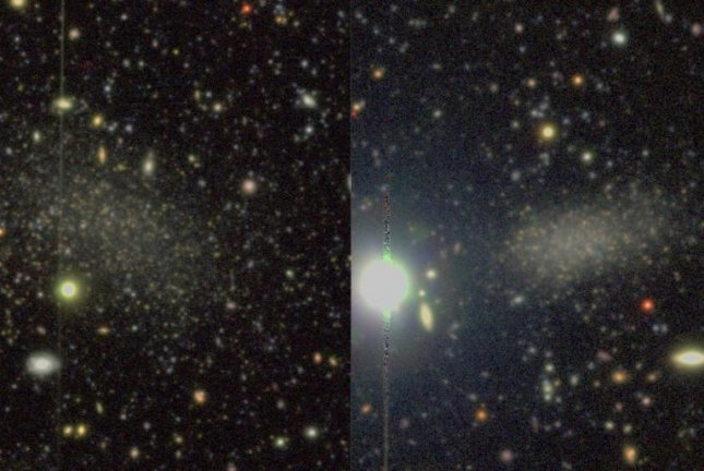 A pair of images captured by the Hyper Suprime-Cam on the Subaru telescope showcase the two satellite galaxies found circling the Milky Way-like galaxy M94. Photo by Smercina et al. 2018